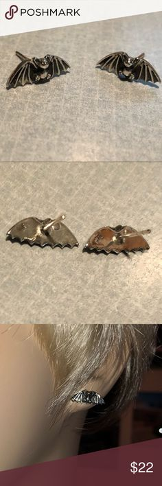 .925 Sterling Silver Bat Studs Beautifully detailed Sterling Studs. Marked .925 on back. From my personal collection. Jewelry Earrings