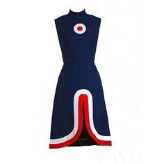 1960's Space-Age Mod Target Seductive Front-Slit Linen Dress ❤ liked on Polyvore