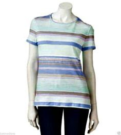 Women's Croft & Barrow Essential Comfortable Multi Colored Striped Tee - Sz Med - $9.99 - Re-list April 22, 2014 - #FreeShipping