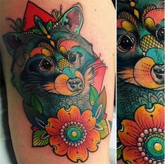 follow the colours neotradicional tattoo friday Katie Shocrylas racoon