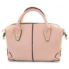 Wholesale Retro Women's Tote Bag With Zip and Splice Design (PINK), Tote Bags - Rosewholesale.com