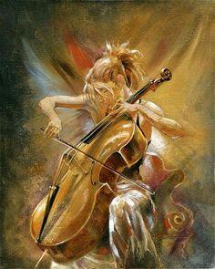 57 Ideas For Music Arte Violin Musicians Cello Kunst, Cello Art, Cello Music, Music Painting, Art Music, Music Artists, Art Triste, Cross Paintings, Angel Paintings