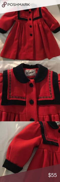 Vintage Rothschild girls red wool 2T dress  coat Girls vintage Rothschild  dress coat with original accessories. Rothschild coats are heirloom items.. this one is in fantastic condition and is absolutely beautiful. The coat is red wool with dark navy velvet trim and buttons.( original spare is still in coat) original hat and muff are still with the coat.. if you have question.. please ask.. I've tried to feature all its beautiful details... Rothschild Jackets & Coats