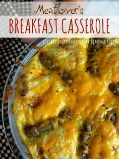 Hearty Meatlover's Breakfast Casserole - hash brown potatoes, bacon, sausage, cheese and eggs!