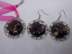 Real rose petal necklace and earring set