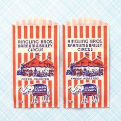 Vintage Circus Peanut Bags 1950s