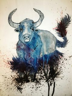 Ox blue watercolor