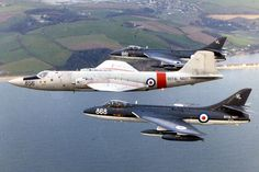 FRADU Canberra T.22 WH803/856 flanked by two Hawker Hunters 1983