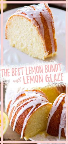 This Lemon Bundt Cake has a lemon glaze on top. It's rich like a lemon pound cake, but it's lighter and fluffier. The lemon icing on top is sweet and tangy. Made with fresh lemon zest, lemon juice, and sour cream. Recipe from A Latte Food. Easy Lemon Bundt Cake Recipe, Lemon Dessert Recipes, Easy Baking Recipes, Homemade Desserts, Citrus Recipes, Light Desserts, Light Dessert Recipes, Muffins, Cake Recipes From Scratch
