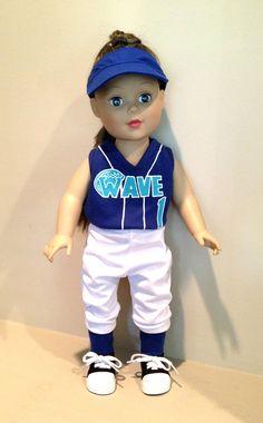 "Custom Softball Outfit fits 18"" American Girl Doll. $39.00, via Etsy."