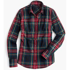 J.Crew Perfect Shirt ($105) ❤ liked on Polyvore featuring tops, shirts, plaid, flannel, petite, tailored shirts, roll top, slim fit flannel shirts, plaid flannel shirt and long sleeve shirts
