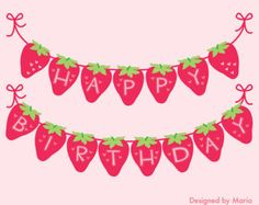 Strawberry Party Banner Printable: Berry Sweet por DesignedByMaria