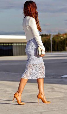 Latest fashion trends: Street style   Zara lavender crochet lace skirt and crop blazer
