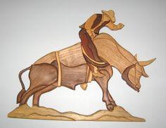 Handmade intarsia wood art bull and rider wall by kitswoodart, $85.00