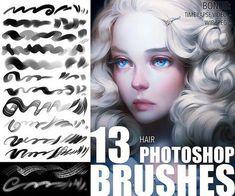 Photoshop Hair, Photoshop Brushes, Photoshop Actions, Sai Brushes, Digital Painting Tutorials, Digital Art Tutorial, Photoshop For Photographers, Photoshop Photography, Photography Tutorials
