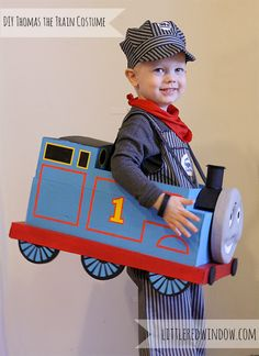 Super adorable DIY Thomas the Train Halloween Costume made from a cardboard box! from Little Red Window