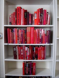 for Valentine's Day cute idea for ashley's book shelf!! Might have to make some paper covers for books, not sure I have enough red books! jh