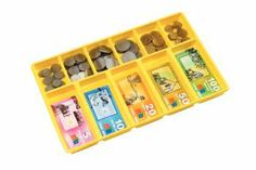 MONEY TRAY A plastic money tray which holds play money in individual compartments. 5 compartments for notes and 5 compartments for coins. Supplied with plastic lid.