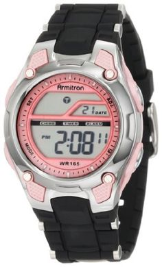 Armitron Women's 456984PNK Pink and Black Chronograph Digital Sport Watch Armitron. $19.00. Black resin strap. Digital display with all day delay feature. Alarm, chronograph, lap, countdown, 2nd time zone and military time functions. Water-resistant to 165 feet (50 M). Pink resin case with silver-tone chrome top ring and pink dial. Save 37% Off!