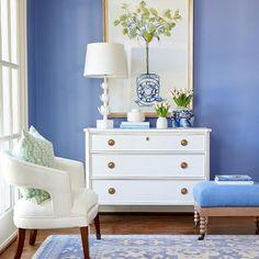 Dining Room Walls, Living Room Decor, Blue Room Decor, Blue Rooms, White Furniture, White Decor, Family Room, Interior, Long Winter