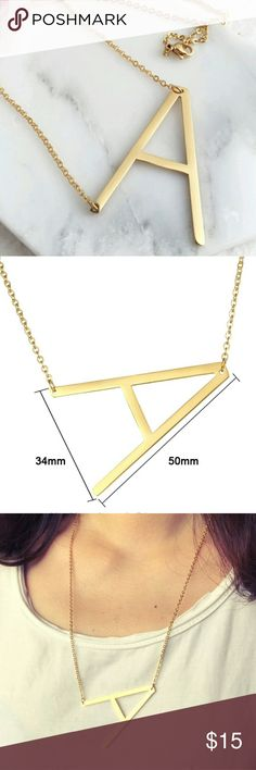Oversize initial necklce letter A, K, C, L, V and M or W Jewelry Necklaces