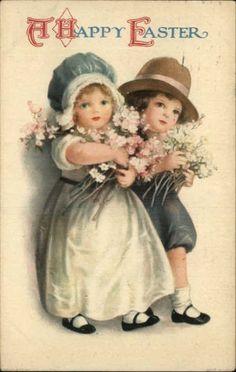Easter Children – Ellen Clapsaddle c1910 Postcard