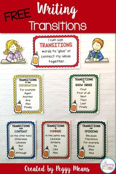 Free Anchor Posters: Create your own anchor posters for writing transitions. Just what your little writers need for writing.
