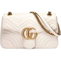Gucci Gg Marmont Medium Matelassé Shoulder Bag ($2,490) ❤ liked on Polyvore featuring bags, handbags, shoulder bags, purses/backpacks, white, leather handbags, leather shoulder bag, leather shoulder handbags, shoulder hand bags and white purse