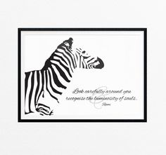 Zebra Art Print/Wild Animal Wall Art/ by EasternCloudStudio