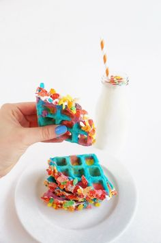 Tie Dye Fruity Pebbles Crusted Waffles - One Broads Journey - Tie Dye Fruity Pebbles Crusted Waffles - Colorful Desserts, Unique Desserts, Delicious Desserts, Dessert Recipes, Yummy Food, Cereal Recipes, Waffle Recipes, Waffle Pops, Rainbow Waffles