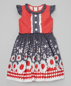 Look at this #zulilyfind! Red & Black Sunflower Polka Dot Dress - Toddler & Girls #zulilyfinds