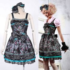 Blue Floral Strap Gothic Lolita Mini Garden Party Dresses for Women Black Long Sleeve Knee Length A Line Gothic Lolita Dress Women  SKU-11402252