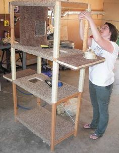 Huge Cat Tree - From a wooden shelving unit to a cat condo. looks easy too. - Huge Cat Tree – From a wooden shelving unit to a cat condo… Cool! looks easy too… Huge Cat Tree – From a wooden shelving unit to a cat condo… Cool! looks easy too… Diy Pour Chien, Cat Safe Plants, Huge Cat, Diy Cat Tree, Herding Cats, Cat Cages, Cat Shelves, Wooden Shelves, Cat Towers
