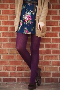 Love everything about this...the chunky sweater, the floral dress, the colorful tights...ugh someone buy me this