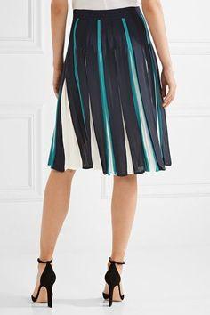 Diane von Furstenberg - Melita Pleated Silk-blend Skirt - Midnight blue - US10