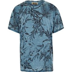 River Island MensBlue Holloway Road botanical print t-shirt
