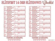 Great free printable for the Weight Watchers 14-Day Slimdown Challenge!