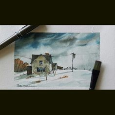 Latest video posted on YouTube showing my favorite technique for painting a dramatic winter sky. Link to my YouTube Channel is in my bio or Cut and Paste:        https://m.youtube.com/c/petersheelerart  #Video #youtube #youtubers #landscape #art #original #watercolor #winsorandnewton #watercolour #painting #paintingaday #penandink #waterbrush #winter #farm #country #countryside #rural #architecture #ink #moleskine_arts #usk #tutorial
