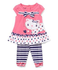 Nannette Pink & Navy Cat Tunic & Leggings - Infant, Toddler & Girls   zulily