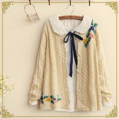 Fairyland - Floral Embroidered Cable Knit Cardigan