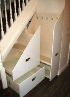 Storage solutions- if only our crawl space wasn't under the stairs. Storage solutions- if only our crawl space wasn't under the stairs. Staircase Storage, Hallway Storage, Hallway Closet, Stairs With Storage, Grey Hallway, Hidden Storage, Diy Storage, Storage Hooks, Creative Storage