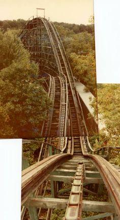 Wildcat at Bertrand Island, Lake Hopatcong, NJ - Katina broke her nose on this ride! Abandoned Amusement Parks, Abandoned Places, Abandoned Castles, Abandoned Mansions, Most Haunted, Haunted Places, East Water, Lake Hopatcong, Israel History
