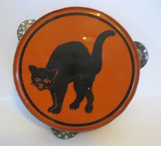 Vintage Halloween Noisemaker ~ Black Cat w/ Arched Back Tin Tambourine * Circa,1950s