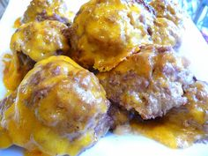 SPLENDID LOW-CARBING BY JENNIFER ELOFF: BAKED CHEESY CHEDDAR MEATBALLS - Sharp Cheddar inside and out made these awesome! ~ Visit us at: https://www.facebook.com/LowCarbingAmongFriends