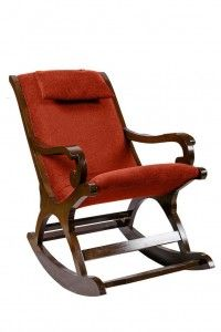 Surprise Interiors Cushioned Back & Seat, Teak Wood Rocking Chair