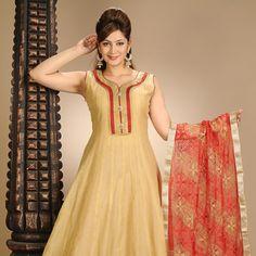 Beige Art Chanderi Silk Readymade Anarkali Churidar Kameez