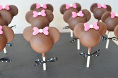 These cake pops were for a little girls birthday who loved Minnie Mouse!!