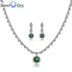 Wedding Accessories Green Crystal Jewelry Sets For Women 2015 Rhodium Plated Luxurious Gift Silver Jewelry (JewelOra JS100477)