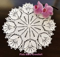 This Pin was discovered by Saa Crochet Doily Diagram, Filet Crochet Charts, Crochet Mandala, Crochet Motif, Crochet Designs, Crochet Flowers, Thread Crochet, Crochet Stitches, Pink Rose Croche