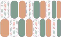 Green & Orange Arrows nail wraps